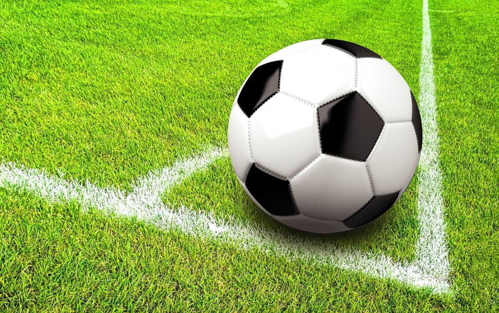 Download Free Stock HD Photo of Soccer - Football - Ball in the Corner of the Pitch Online