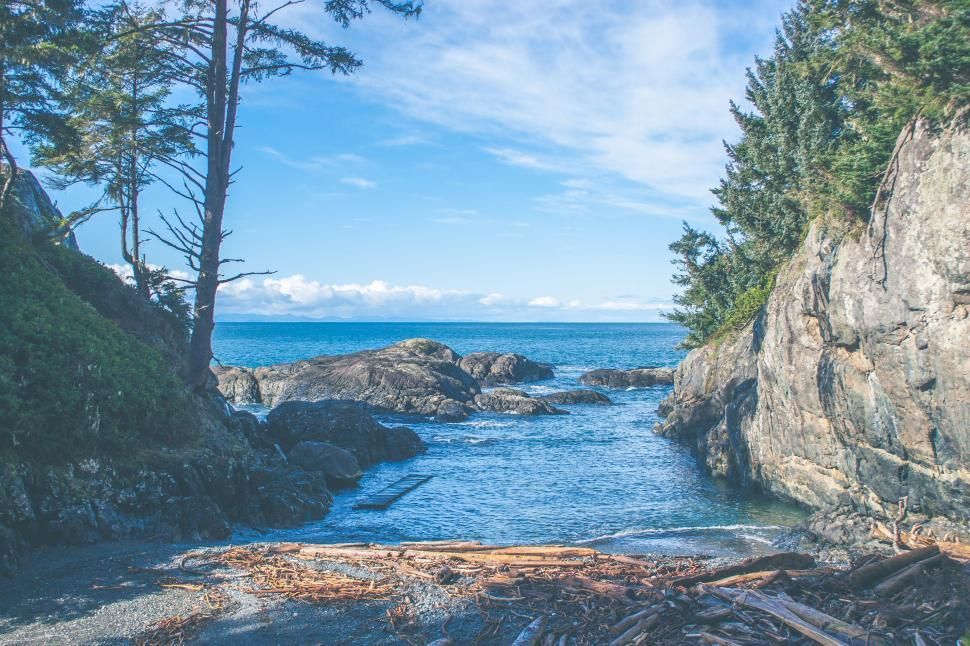Download Free Stock Photo of Nature water landscape sea shore beach sky coast travel tree ocean summer vacation sand island scenic tropical tourism coastline lake turquoise river wave bay holiday scene rock scenery outdoor paradise cloud horizon clouds tranquil sunny true laurel idyllic palm reflection seascape forest resort relax park
