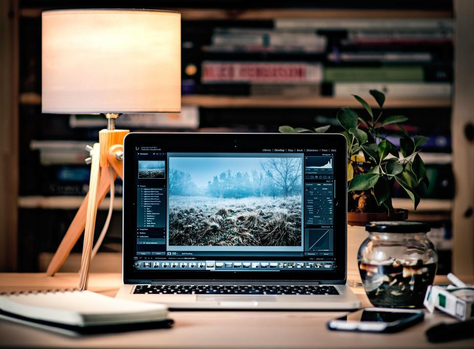 Download Free Stock Photo of Technology monitor computer screen display laptop technology personal computer television notebook equipment keyboard pc internet office business lcd modern flat desktop silver panel digital communication electronics blank tv black