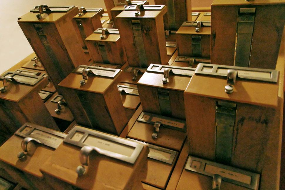 Download Free Stock Photo of card catalogue catalog drawers organization organized labels index cards handles pulls library furniture information open
