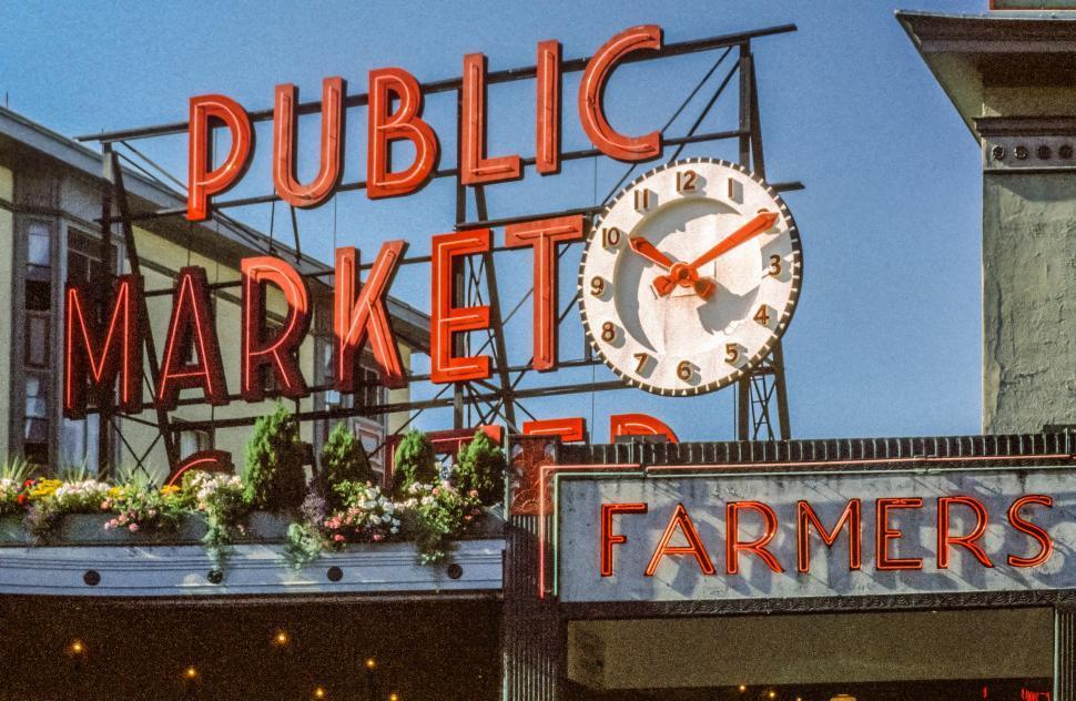 Download Free Stock Photo of Public Market Neon sign in Seattle Washington