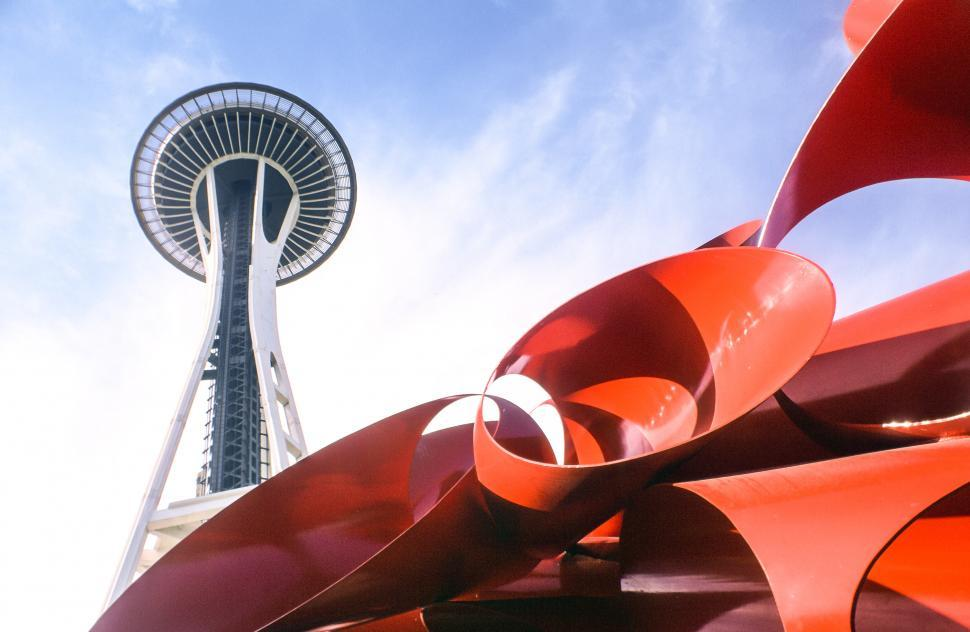 Download Free Stock Photo of Space Needle and Sculpture in Seattle
