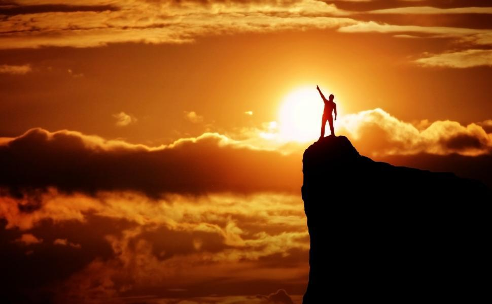 Download Free Stock HD Photo of Achievement - Man on the Top of the Mountain at Sunrise Online