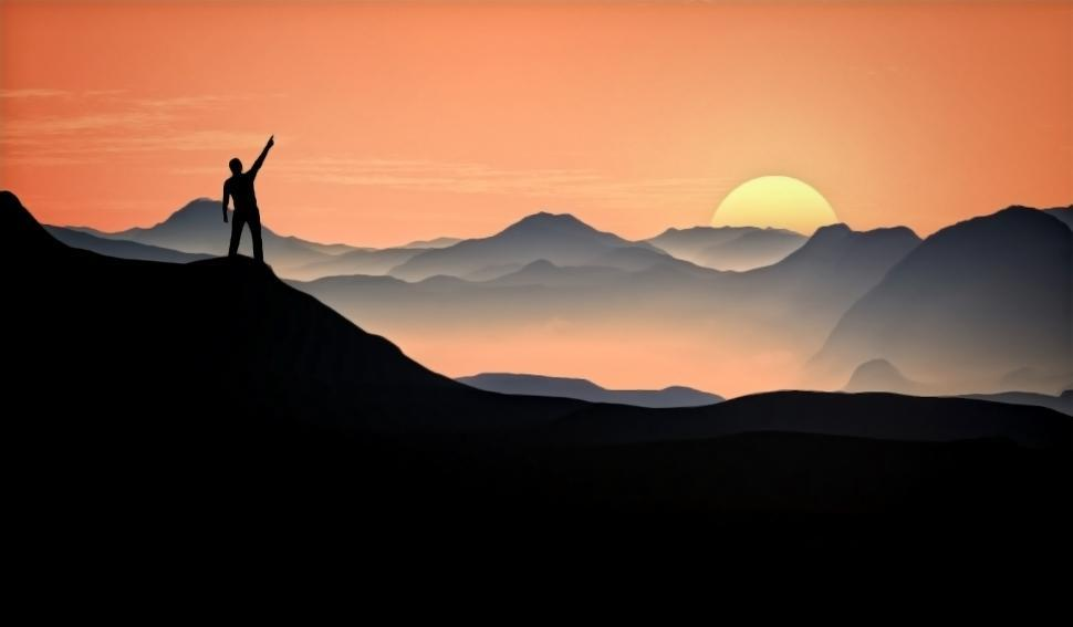 Download Free Stock Photo of Man Raising Arm at the Top of the Mountain - Victory and Aspirat