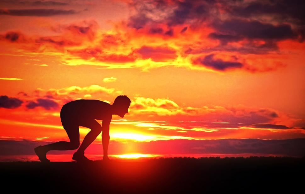 Download Free Stock Photo of Healthy Young Runner at Sunrise - Challenge Yourself