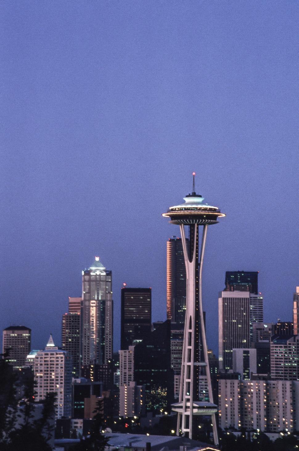 Download Free Stock HD Photo of Seattle Space Needle evening view Online