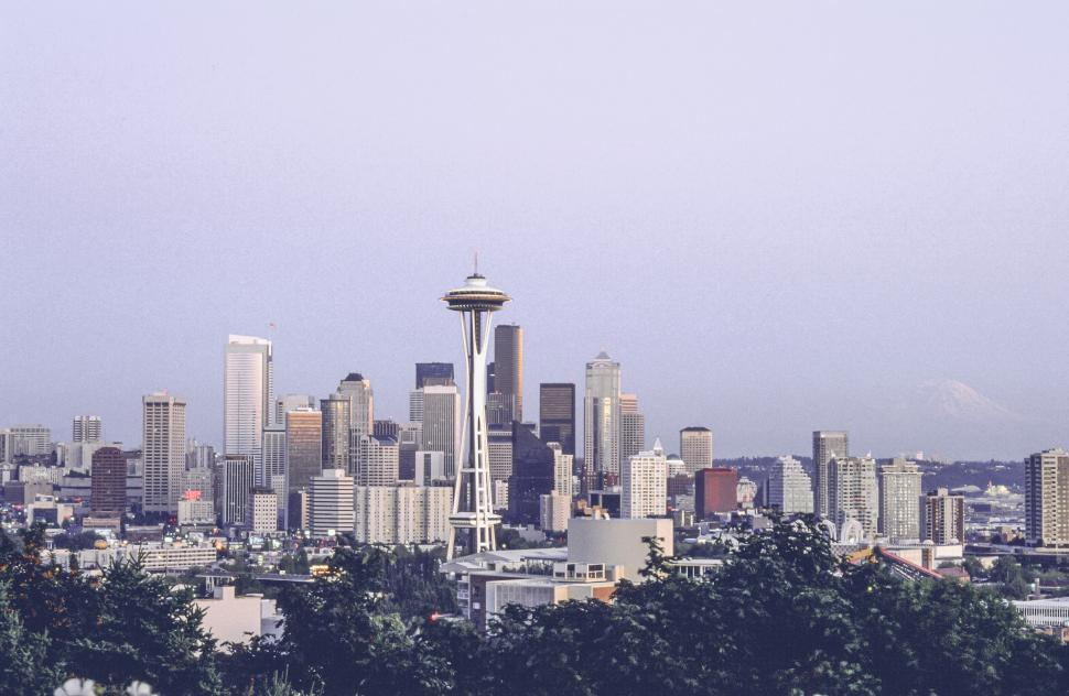 Download Free Stock Photo of Seattle Skyline with Space Needle