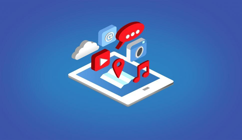 Download Free Stock Photo of Apps on Tablet - Isometric Design