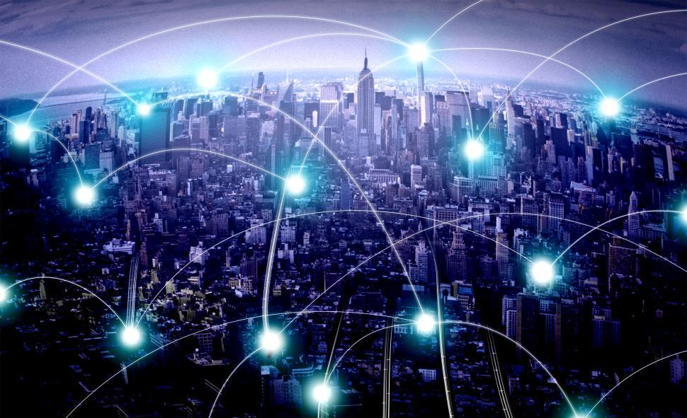 Download Free Stock Photo of The Urban Network - A City and Its Human and Electronic Connecti