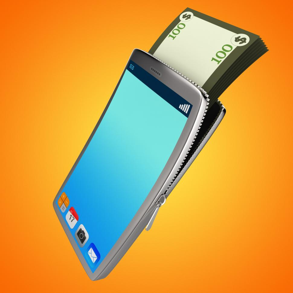 Download Free Stock Photo of Dollars Phone Shows World Wide Web And Bank
