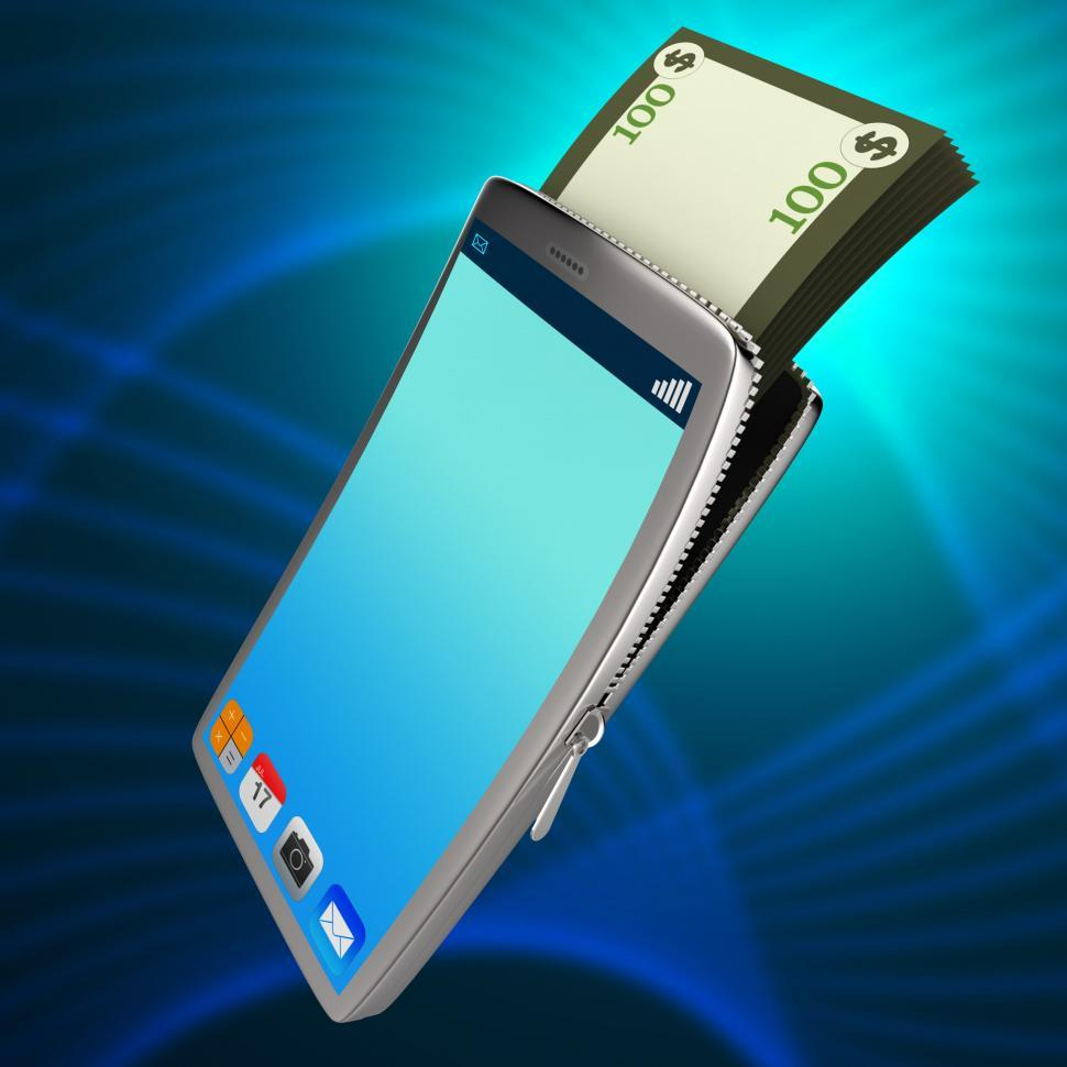 Download Free Stock Photo of Dollars Phone Means World Wide Web And Bank