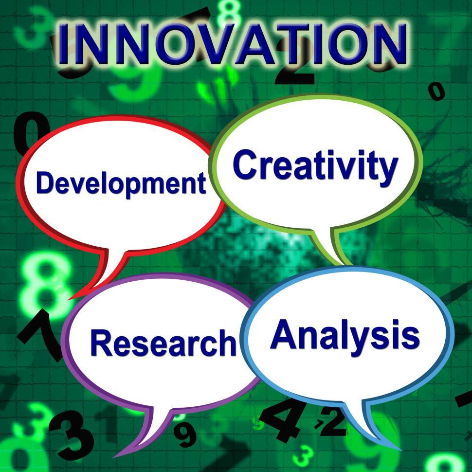 Download Free Stock HD Photo of Innovation Words Shows Innovating Transformation And Manufacture Online
