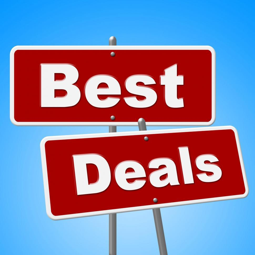 Download Free Stock Photo of Best Deals Signs Shows Cheap Promotion And Sales