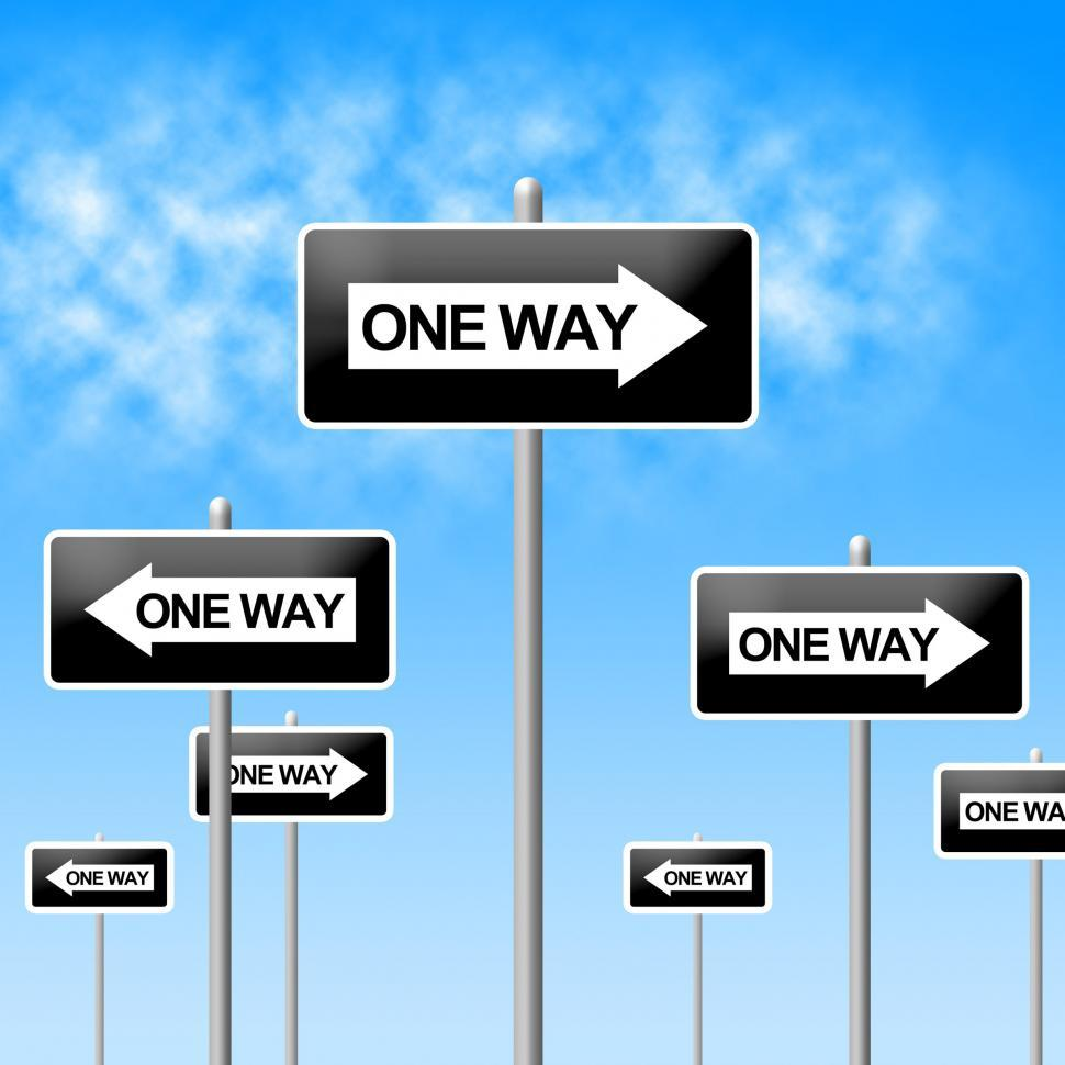 Download Free Stock Photo of One Way Sign Represents Signage Decisions And Option