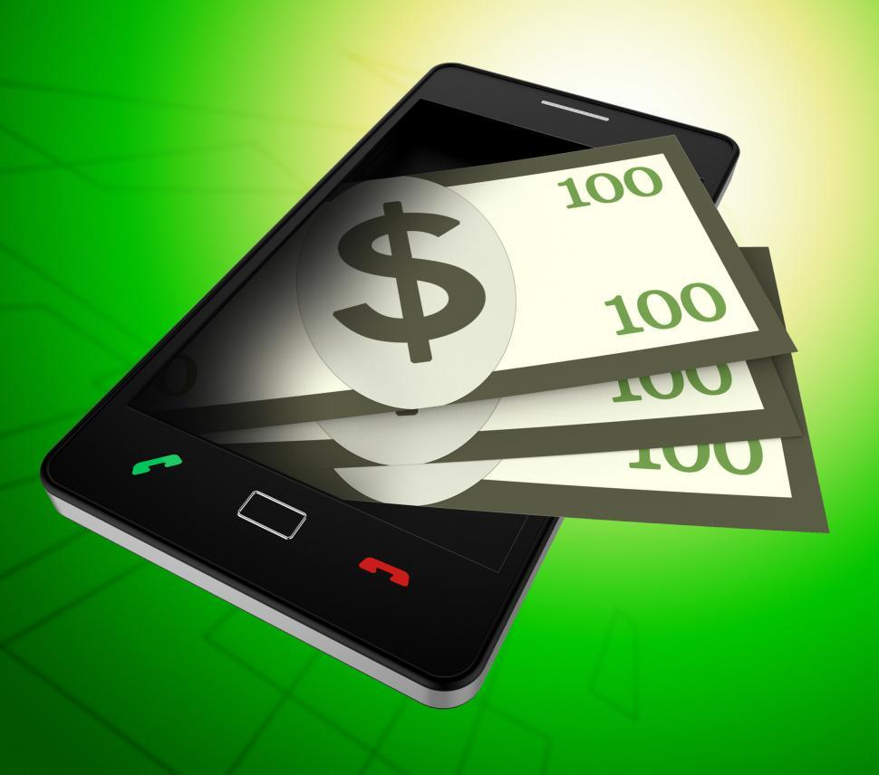 Download Free Stock Photo of Phone Dollars Represents World Wide Web And American