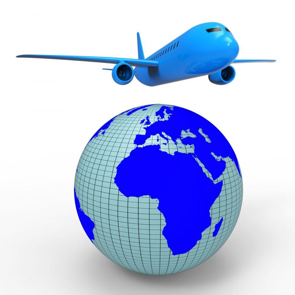 Download Free Stock Photo of Worldwide Travel Shows Aeroplane Jet And Planet