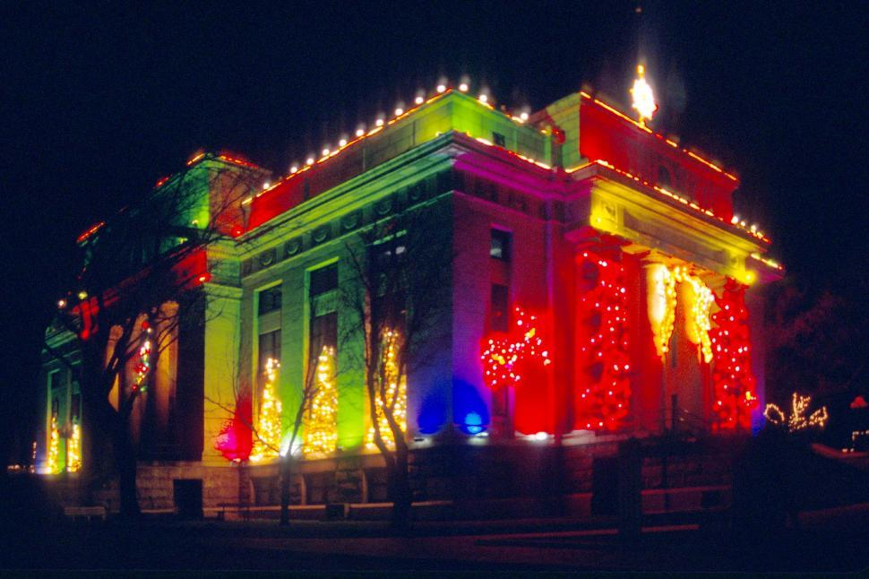 Download Free Stock HD Photo of Yavapai County Courthouse Christmas lights Online