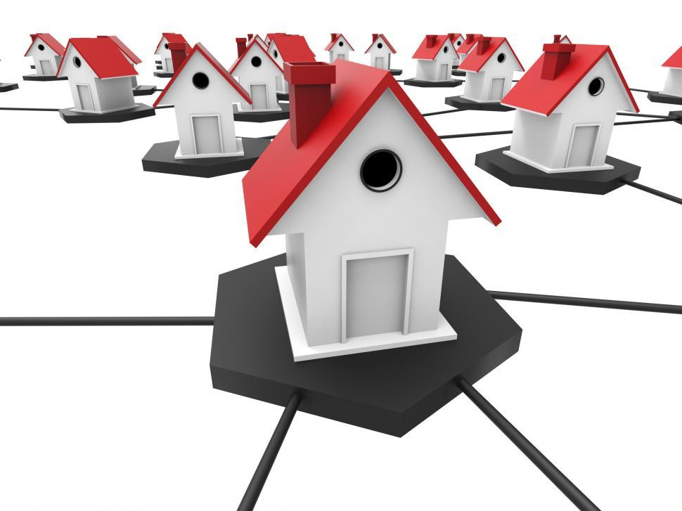 Download Free Stock HD Photo of Internet Housing Shows World Wide Web And Connect Online
