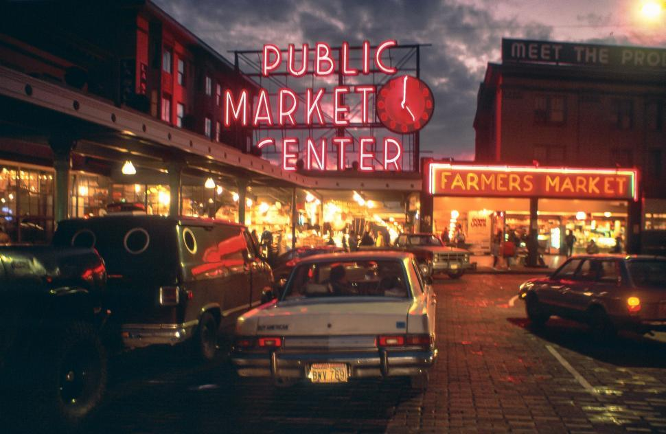 Download Free Stock Photo of Neon Public Market, Seattle
