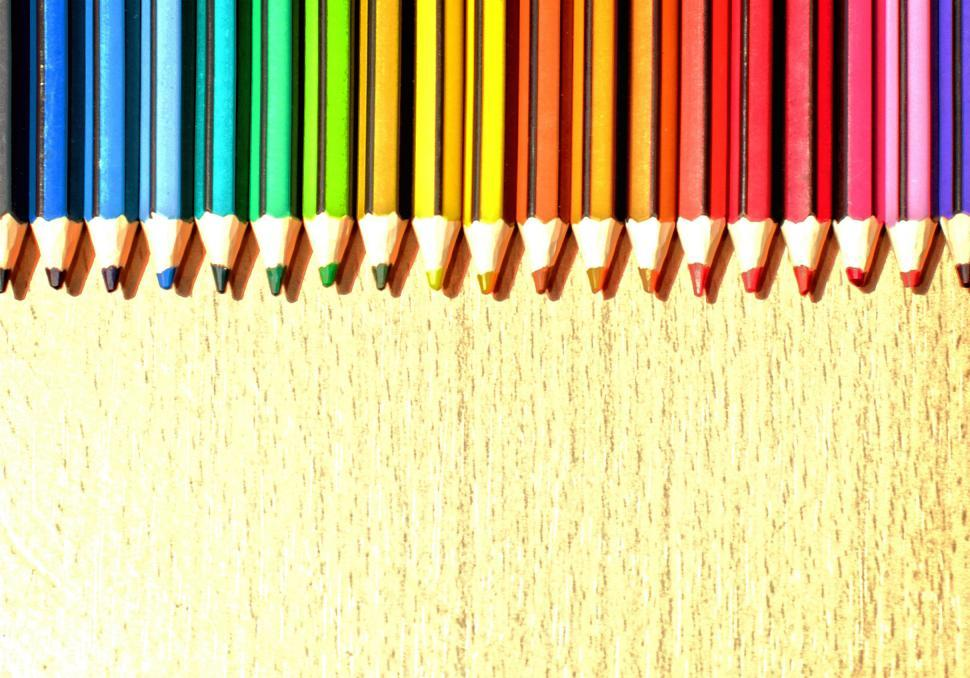 Download Free Stock Photo of Color Pencils in a Row with Copyspace