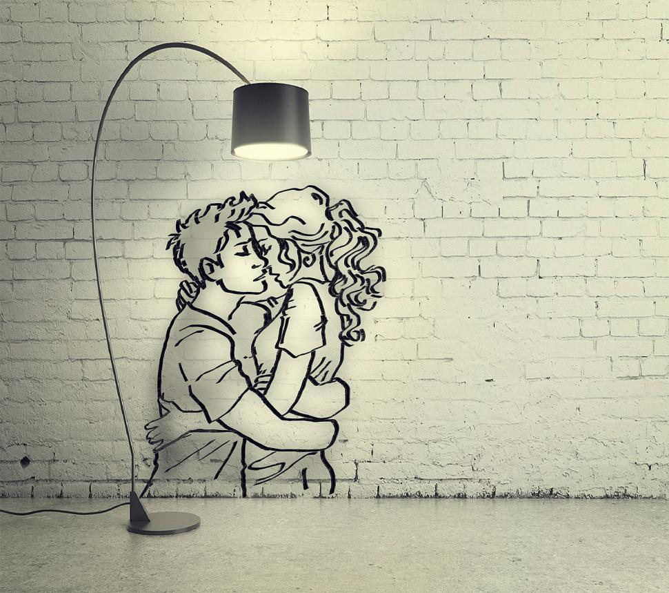 Download Free Stock HD Photo of Only Love is Real - A Couple Embraces Under Light - Drawing with Online