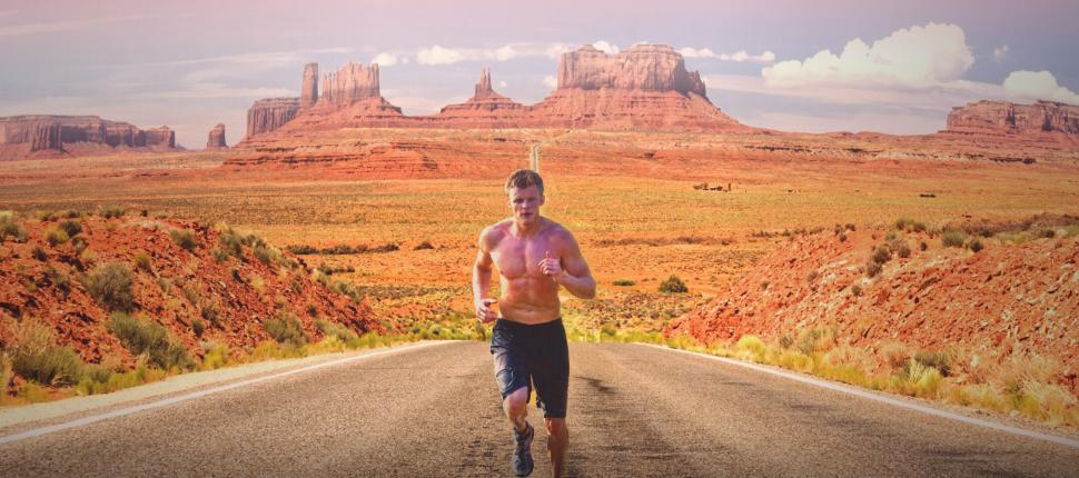 Download Free Stock HD Photo of Running an Ultramarathon - Runner on Monument Valley Online