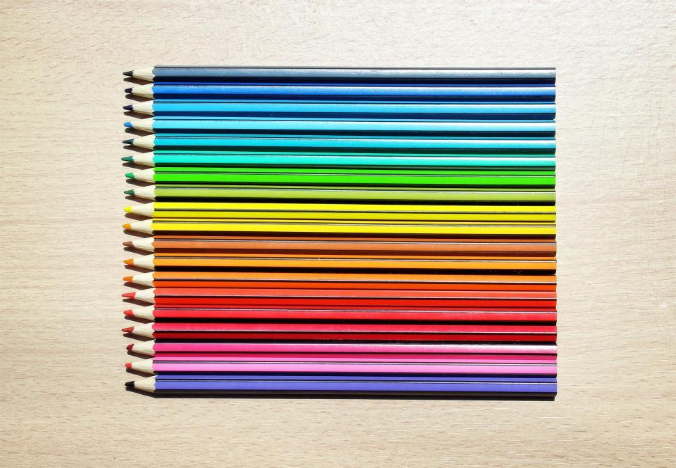 Download Free Stock HD Photo of Colored Pencils Aligned in a Simple Spectrum Online