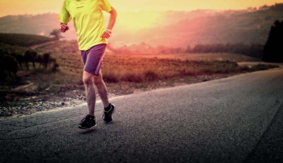Download Free Stock HD Photo of Male Runner in the Countryside at Sunrise Online