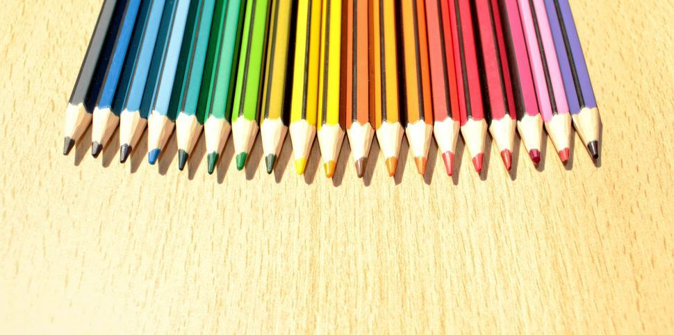 Download Free Stock HD Photo of Colorful Pencils in a Row with Copyspace Online