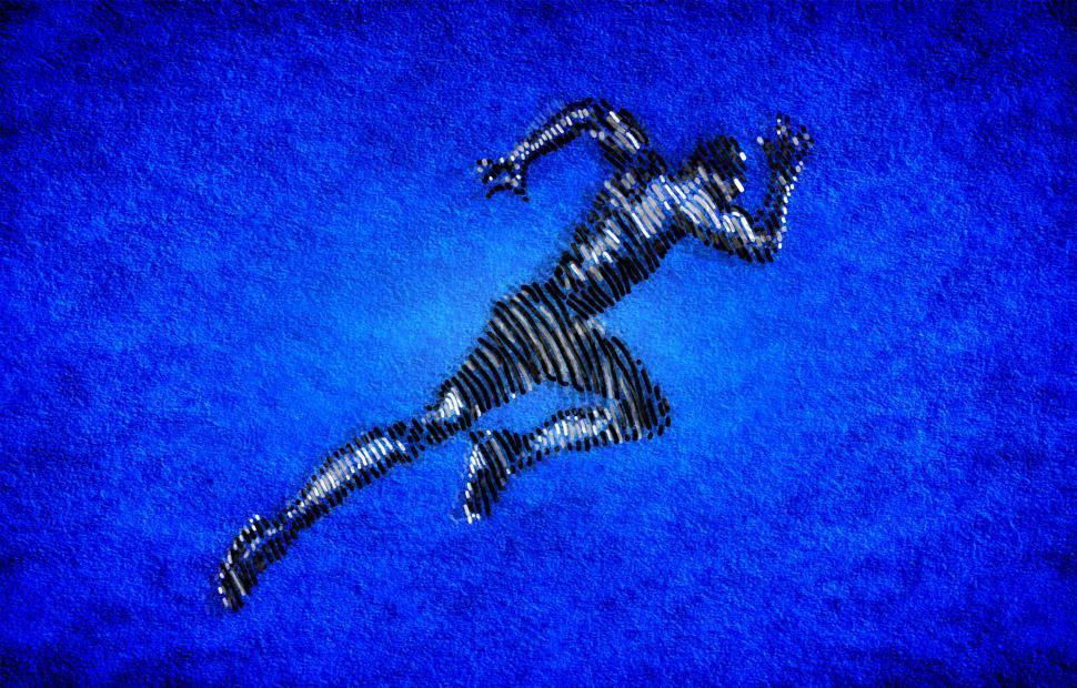 Download Free Stock Photo of Born to Run - Male Athlete Sprinting - Ink Drawing-Style Illustr