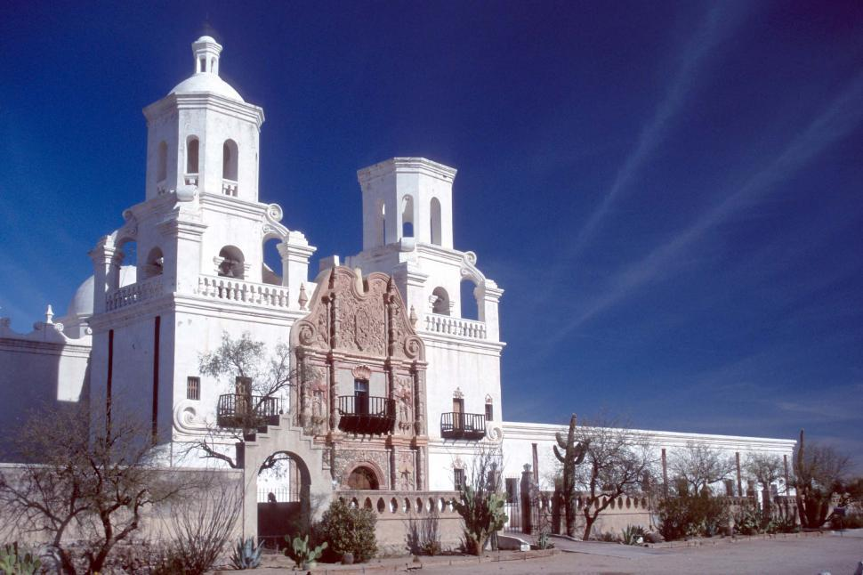 Download Free Stock HD Photo of Mission San Xavier front view Online