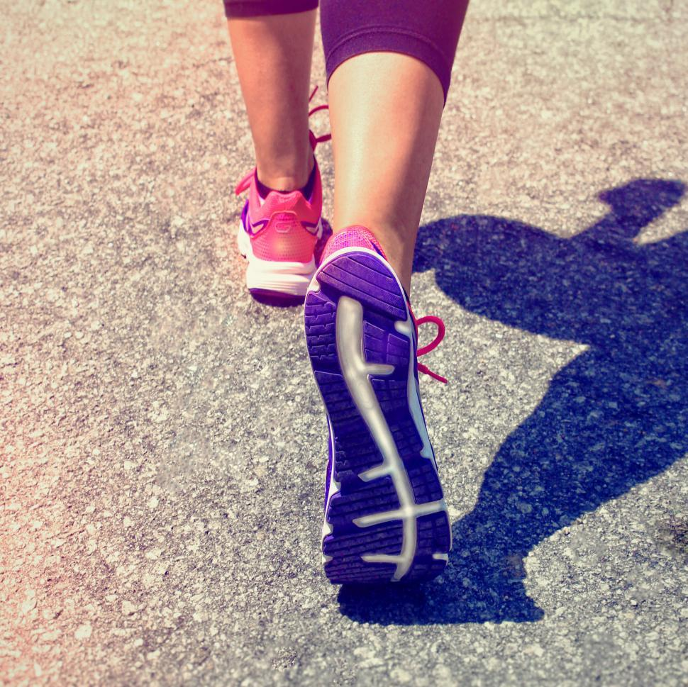Download Free Stock Photo of Female Runner Feet - Running on the Road - Women Fitness