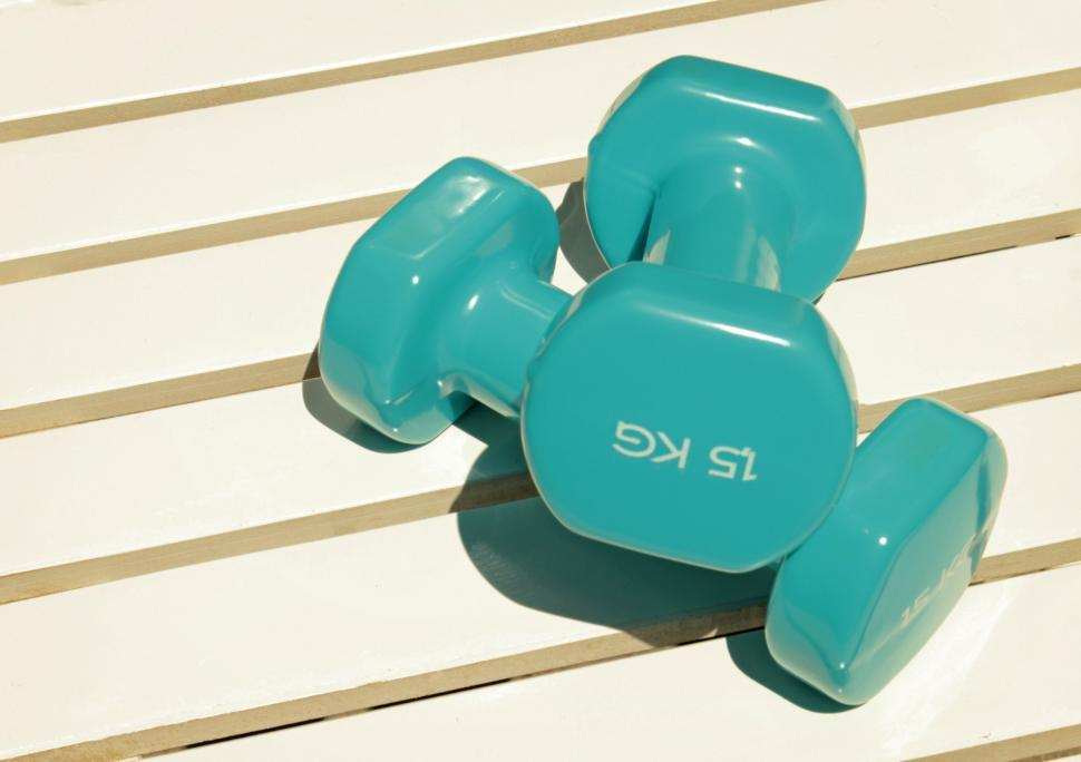 Download Free Stock Photo of Two Plastic Coated Dumbbels - Fitness