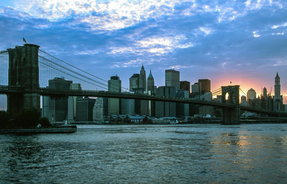 Download Free Stock Photo of Brooklyn Bridge and Manhattan