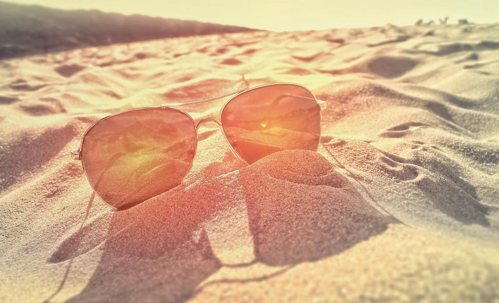 Download Free Stock Photo of Sunglasses on the Sand at Sunset - Summer and Beach Holidays