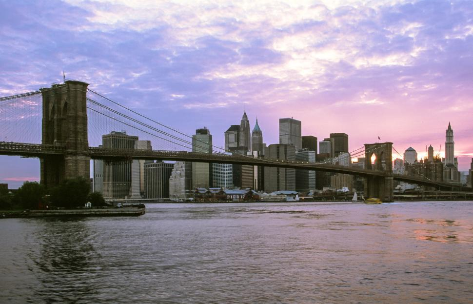 Download Free Stock Photo of Brooklyn Bridge and East River