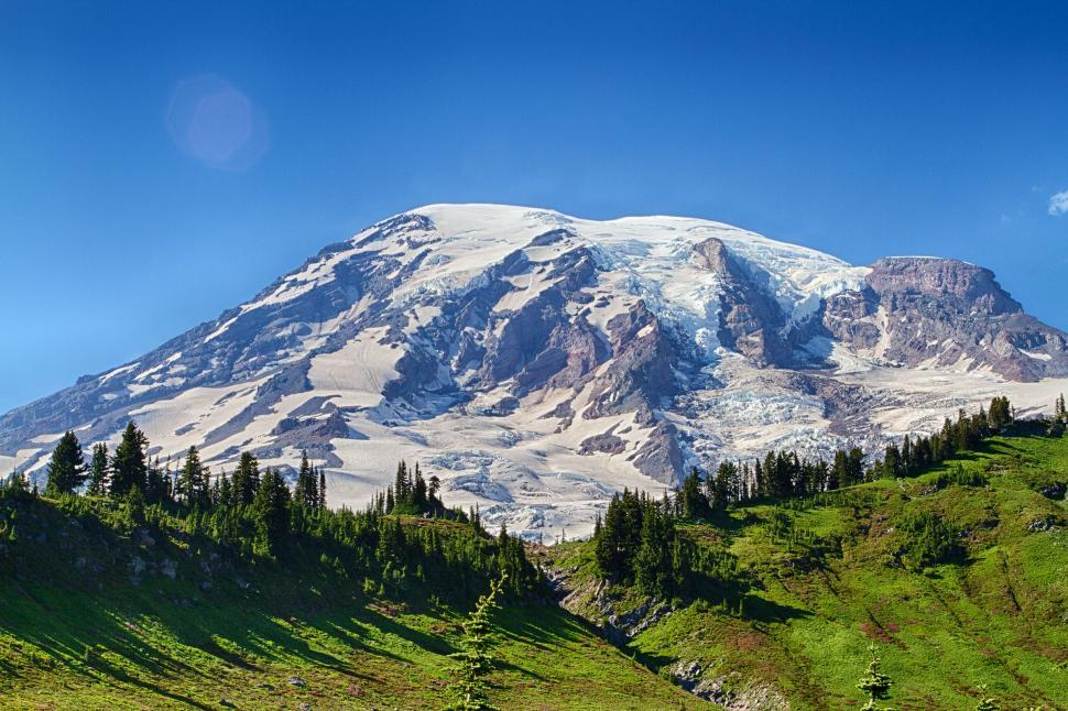Download Free Stock Photo of Mount Rainer and treeline