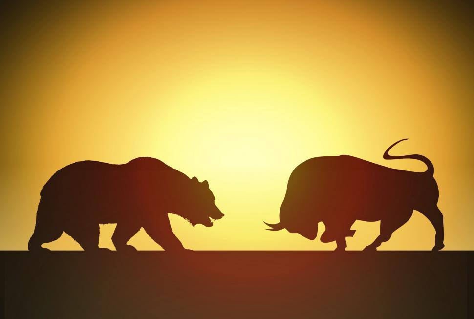 Download Free Stock Photo of Bull versus Bear - Financial Markets Concept with Silhouettes