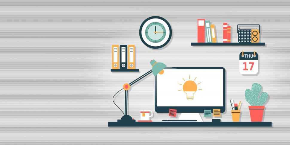 Download Free Stock HD Photo of Empty Work Desk With Idea Icon on Computer Screen - Creativity a Online
