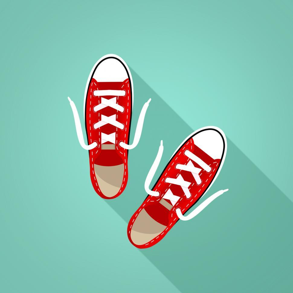 Download Free Stock HD Photo of Red Sneakers on Turquoise Background Online