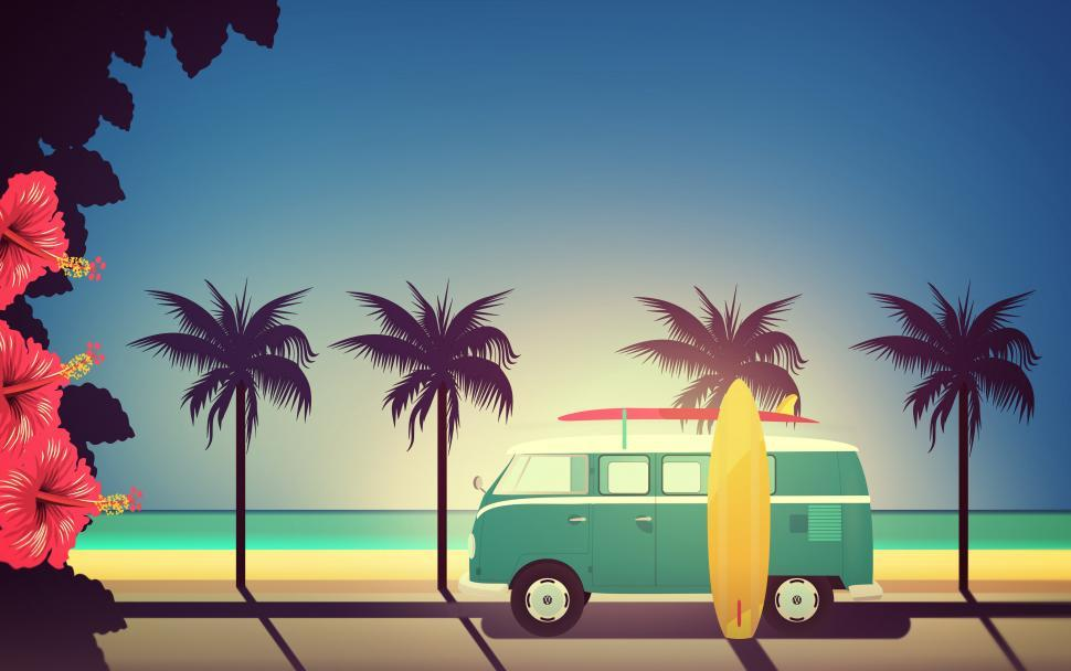 Download Free Stock HD Photo of End of Summer - Illustration with Surfers Van with Copyspace Online
