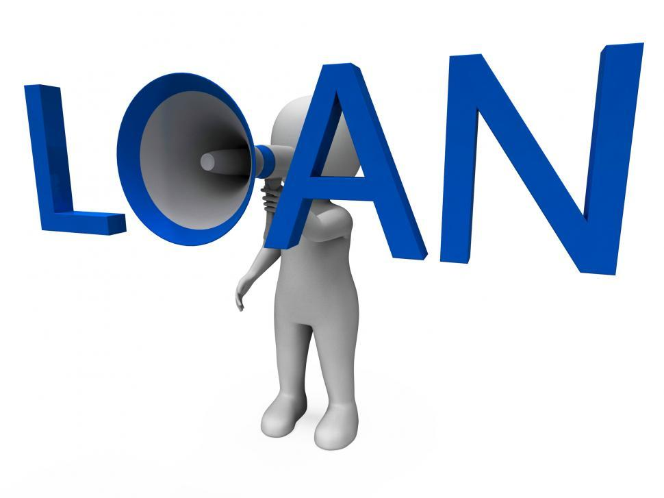 Download Free Stock HD Photo of Loan Hailer Shows Bank Loans Credit Or Loaning Online