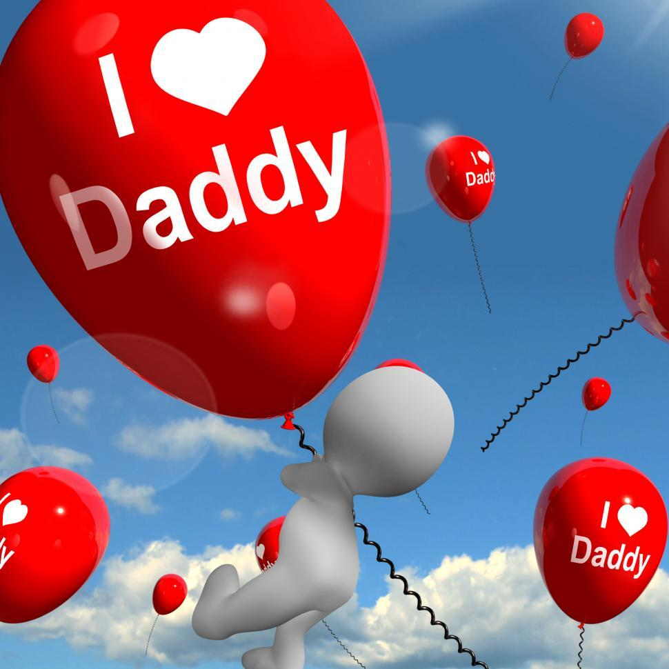 Download Free Stock HD Photo of I Love Daddy Balloons Shows Affectionate Feelings for Father Online