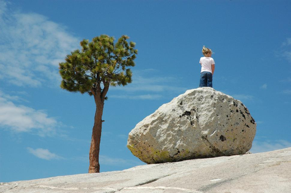 Download Free Stock Photo of Girl on the Rock