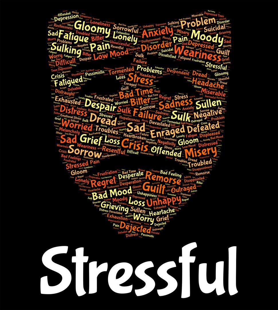 Download Free Stock Photo of Stressful Word Indicates Pressured Overworked And Wordcloud