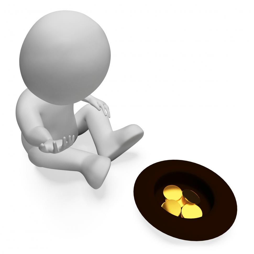 Download Free Stock Photo of Begging Coins Shows Homelessness Savings And Monetary 3d Renderi