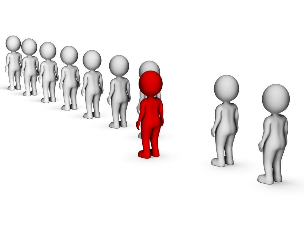 Download Free Stock Photo of Unique Disagree Represents Stand Out And Men 3d Rendering