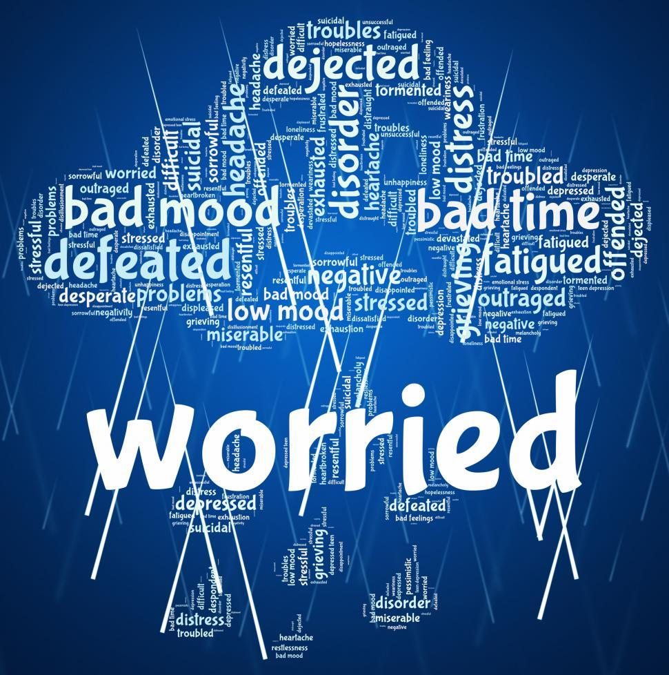 Download Free Stock HD Photo of Worried Word Indicates Ill At Ease And Agitated Online