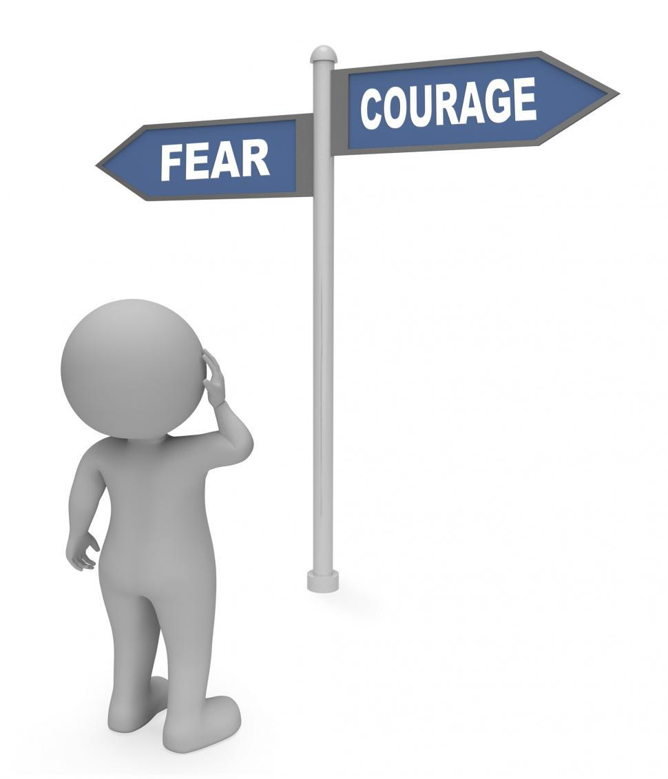 Download Free Stock Photo of Fear Courage Sign Indicates Terror Or Bravery 3d Rendering