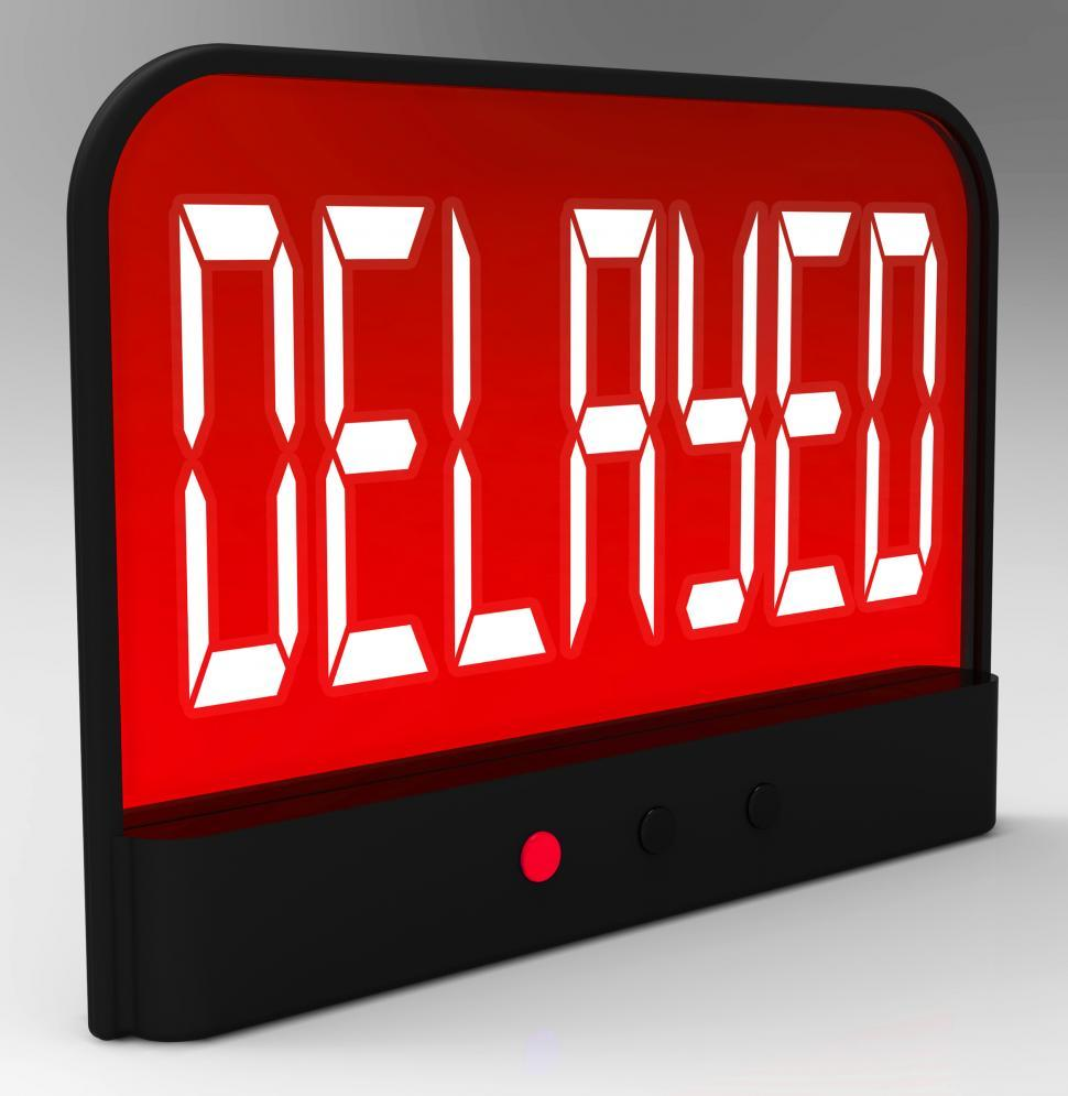 Download Free Stock Photo of Delayed Clock Shows Postponed Or Running Late